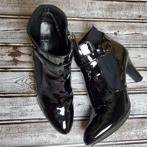 AQUATALIA MERVIN K Black Patent Ankle Boots 9.5